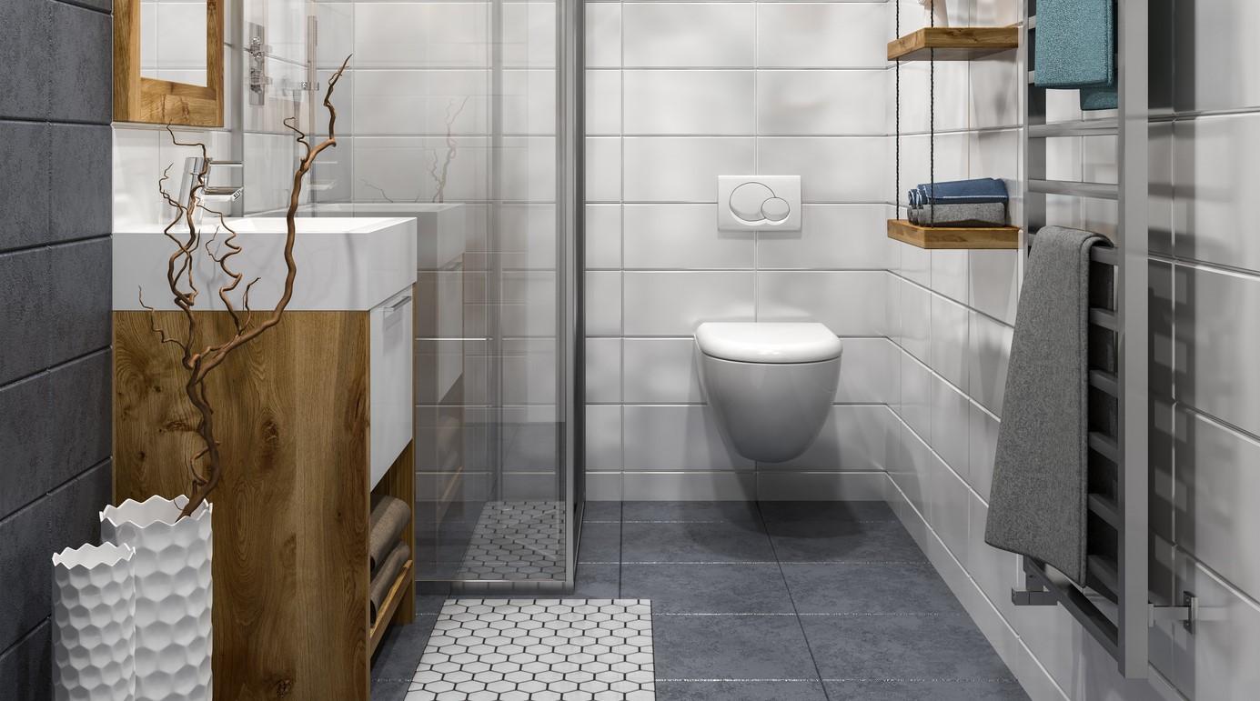 Ein modernes, saniertes Badezimmer.